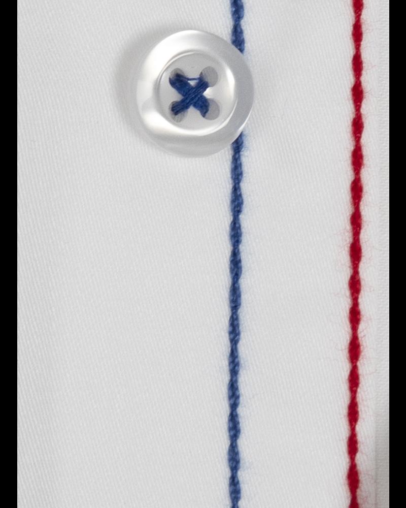 XOOS Men's white dress shirt Tricolore braid