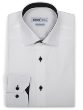 XOOS Men's white Oxford dress shirt black micro dots lining (Double Twisted)