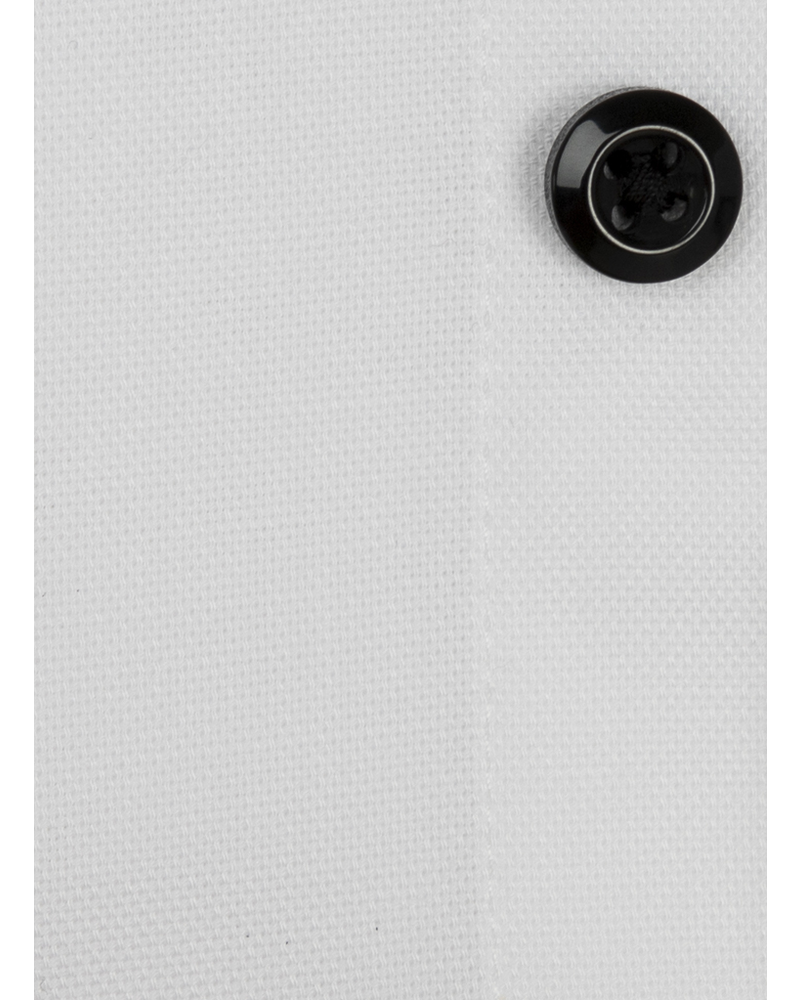 XOOS Chemise homme blanche doublure à micro pois et boutons noirs (Double Retors)