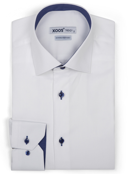 XOOS Men's white herringbone dress shirt navy micro dots lining (Double Twisted)