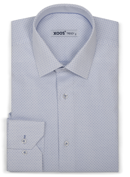 XOOS Men's white dress shirt woven light blue dots