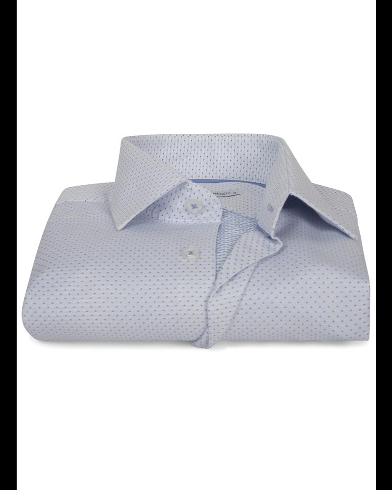 XOOS Men's white dress shirt woven light blue dots