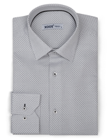 XOOS Men's white dress shirt woven black dots