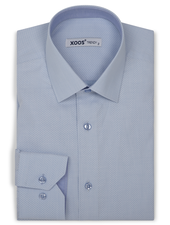 XOOS Men's light blue dress shirt woven diamond patterns