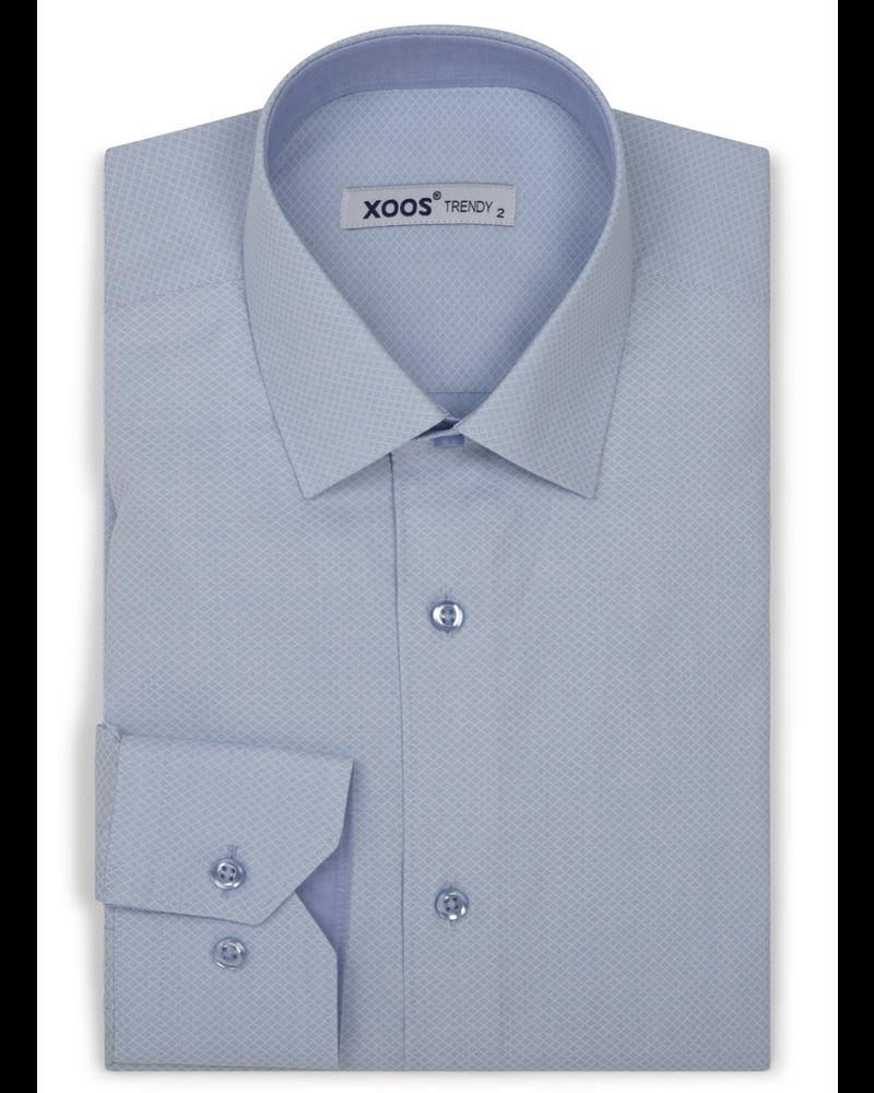 XOOS Men's light blue dress shirt woven diamond patterns