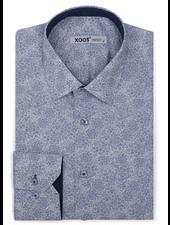 XOOS Men's navy floral print dress shirt