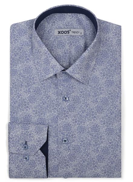 XOOS Chemise homme à motif floral imprimé bleu nuit