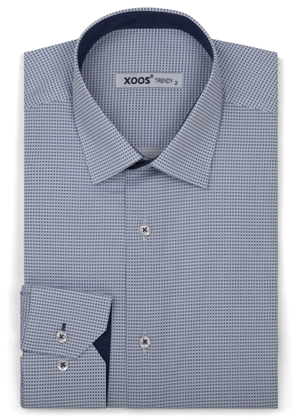 XOOS Men's light blue patterns print dress shirt