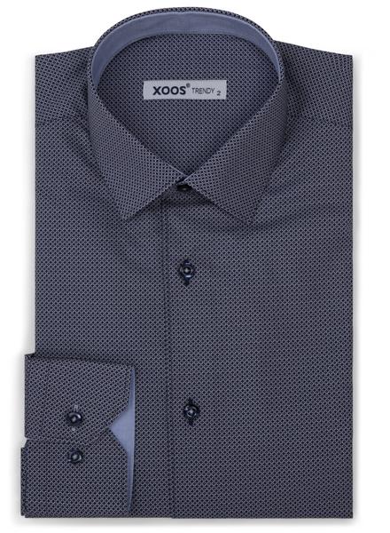 XOOS Chemise homme bleu marine à motif micro cercles imprimés