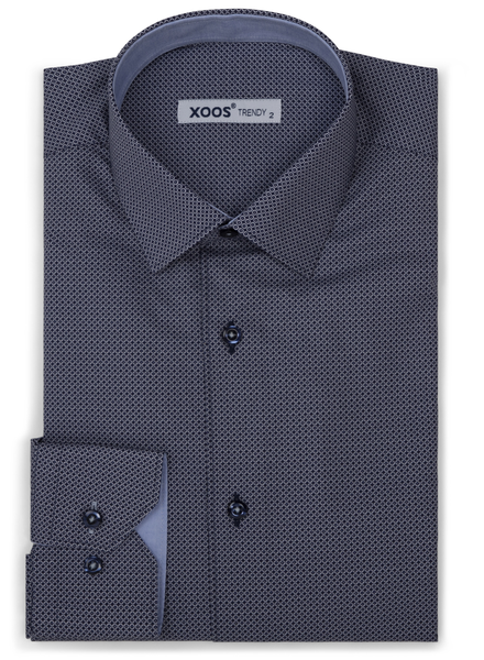 XOOS Men's navy blue dress shirt light blue micro circle prints