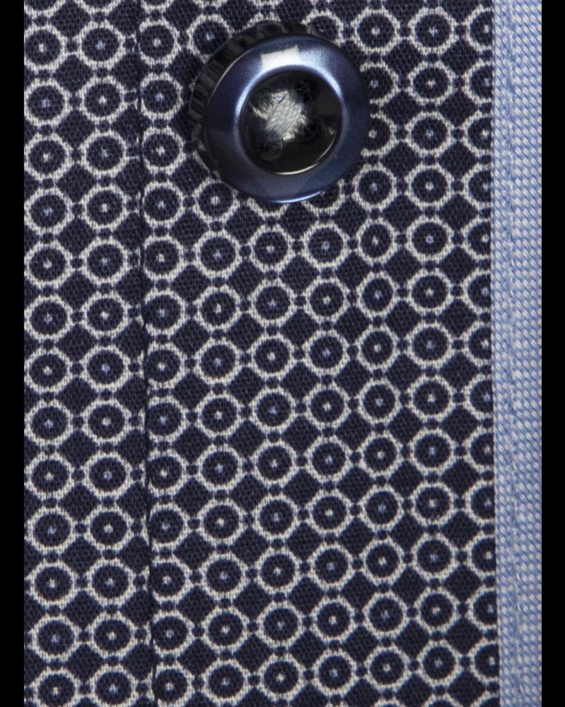 XOOS Men's navy blue dress shirt light blue micro circle prints