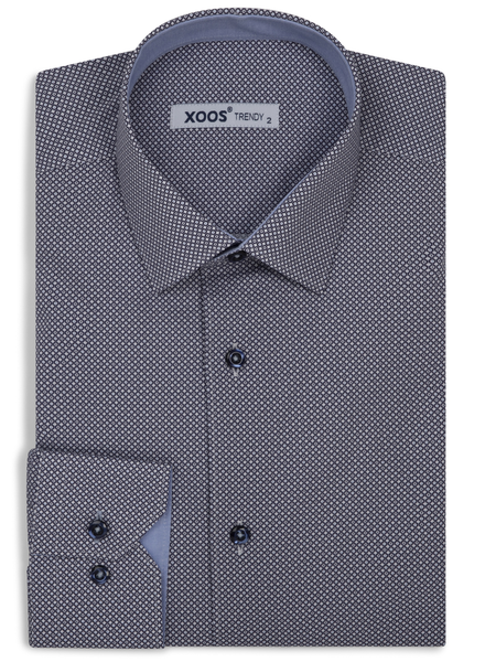 XOOS Men's blue dress shirt navy micro circle prints
