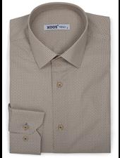 XOOS Men's dress shirt beige micro circle prints