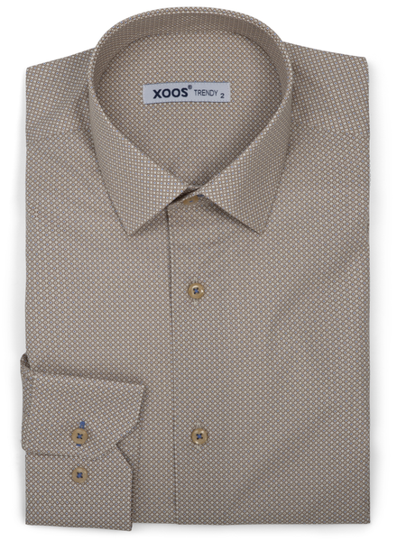 XOOS Men's dress shirt beige micro circle prints