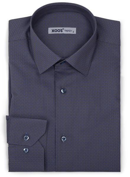 XOOS Men's navy blue dress shirt beige micro circle prints