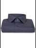 XOOS Men's navy blue dress shirt beige micro circle prints