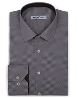 XOOS Men's navy and brown prints dress shirt