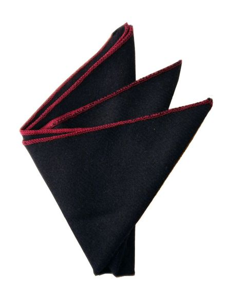 Navy blue and red edge pocket square