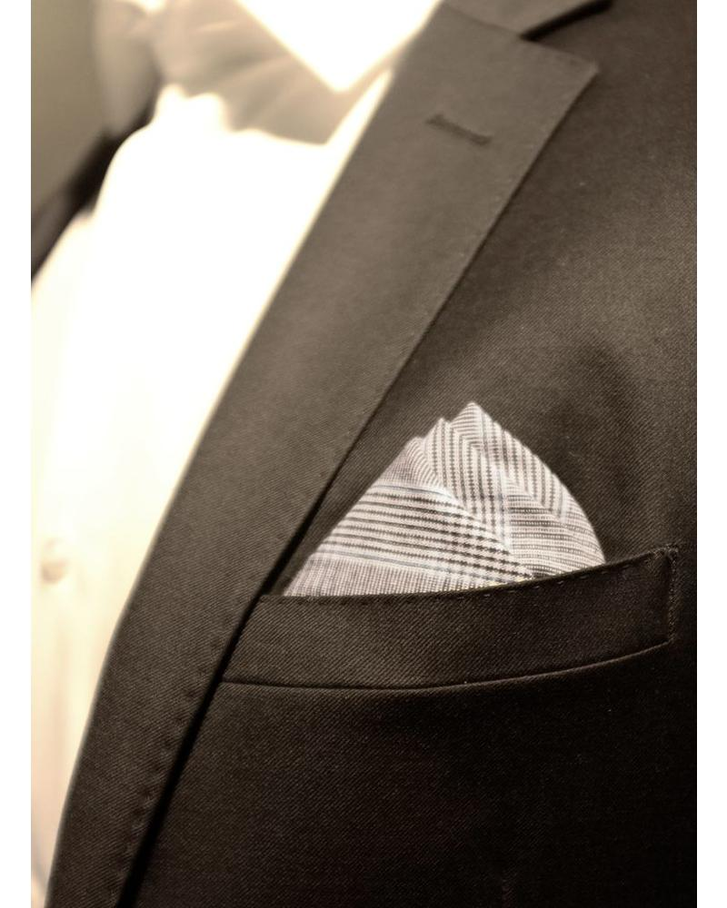 Gray and blue Prince of Wales pocket square