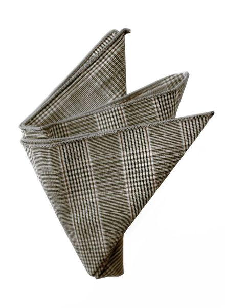 Gray and brown Prince of Wale pocket square