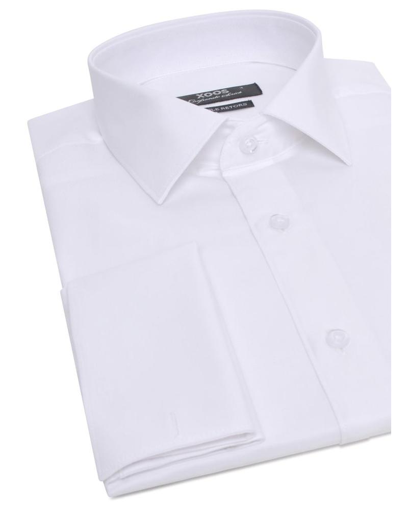 XOOS White French cuffs shirt (Double twisted gabardine)