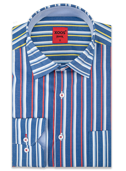 XOOS Men's blue striped dres shirt and button-down collar (Double Twisted)