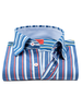 XOOS Chemise homme bleue à rayures bayadères et col boutonné (Double Retors)