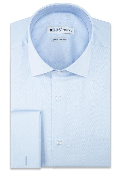 XOOS Chemise homme ciel en coton piqué à poignets mousquetaire (Double Retors)