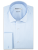 XOOS Men's light blue pique cotton French cuffs dress shirt (Double Twisted)