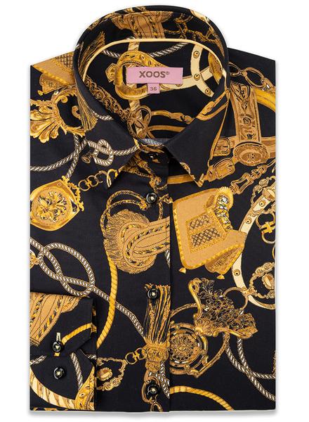 XOOS Chemisier femme motifs noir et or