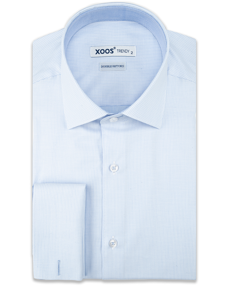 XOOS Men's light blue woven patterns French cuffs dress shirt (Double Twisted)
