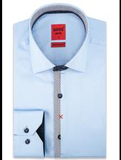 XOOS Men's blue dress shirt Half hidden circular printed placket