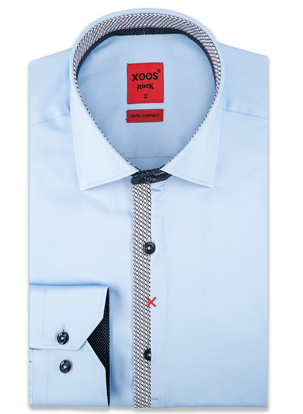 XOOS Men's blue dress shirt Half hidden circular printed placket