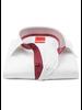 XOOS Men's white dress shirt Half hidden burrgundy printed placket