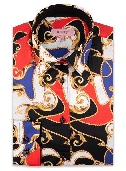 """XOOS Chemisier femme coloré à motifs """"Baroque & Rope"""""""