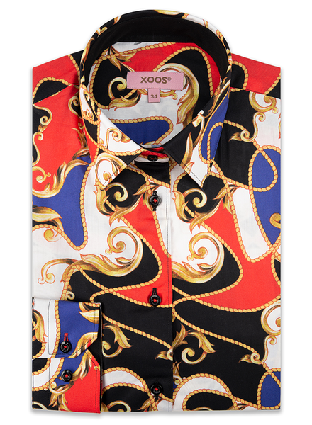 """XOOS WOMEN'S coloured """"Baroque & Rope"""" printed blouse"""