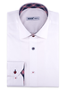 XOOS Men's white dress shirt checkered navy and red lining (Double Twisted)
