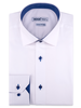 XOOS Chemise blanche doublure bleue à pois (Double Retors)