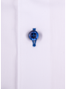 XOOS Men's white dress shirt blue micro dots lining (Double Twisted)