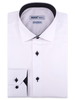 XOOS Men's white dress shirt black micro dots lining (Double Twisted)