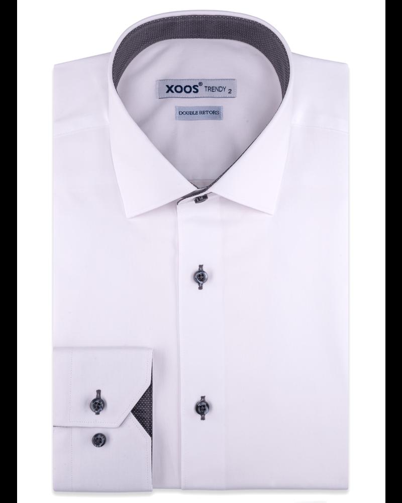 XOOS Chemise blanche doublure grise à micros pois (Double Retors)