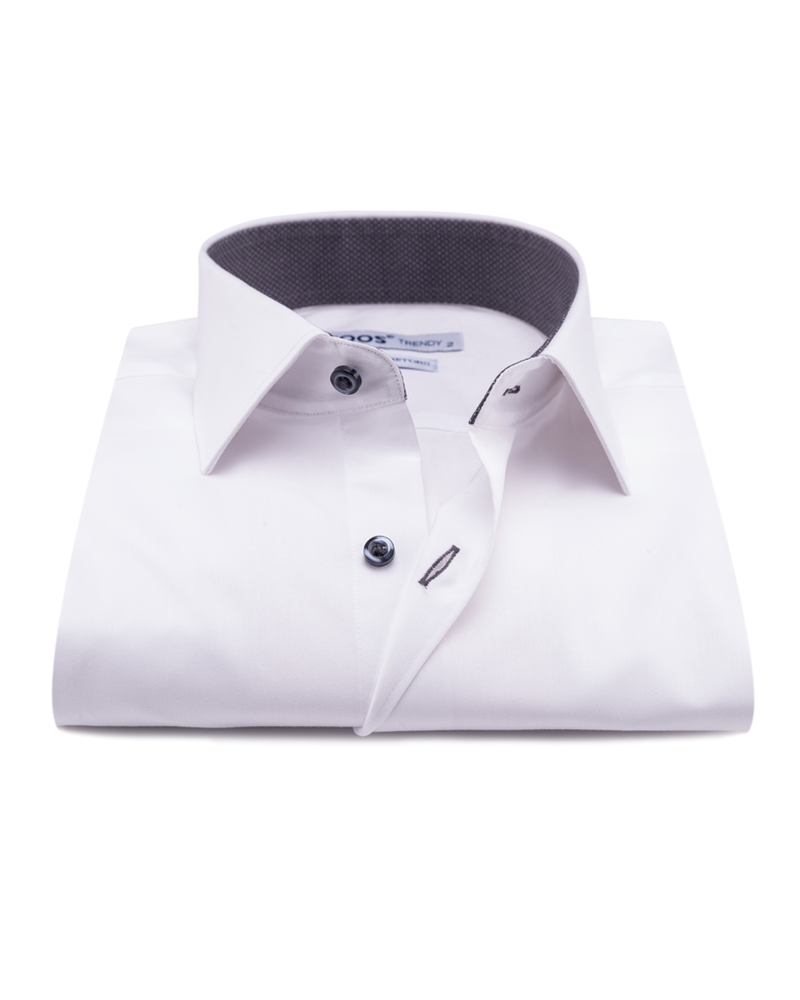 XOOS Men's white dress shirt Gray micro dots lining (Double Twisted)