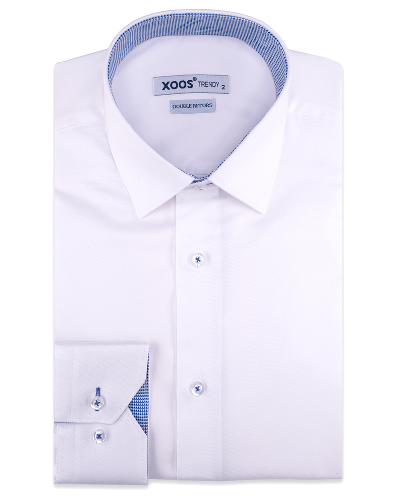 XOOS Men's white dress shirt blue woven checkered lining (Double Twisted)