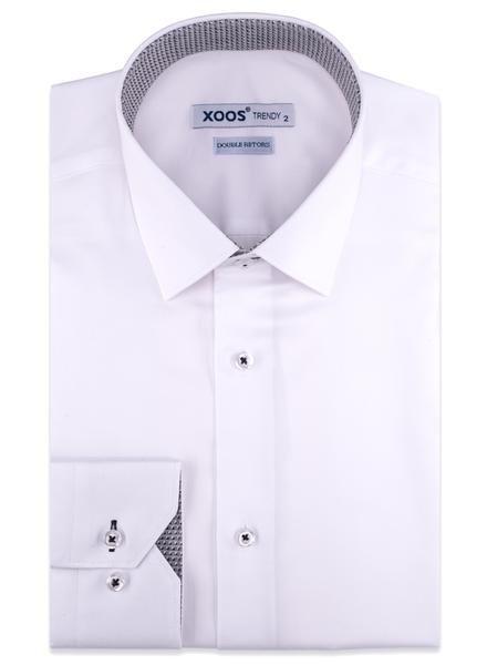 XOOS Chemise homme blanche doublure tissée à motif gris (Double Retors)