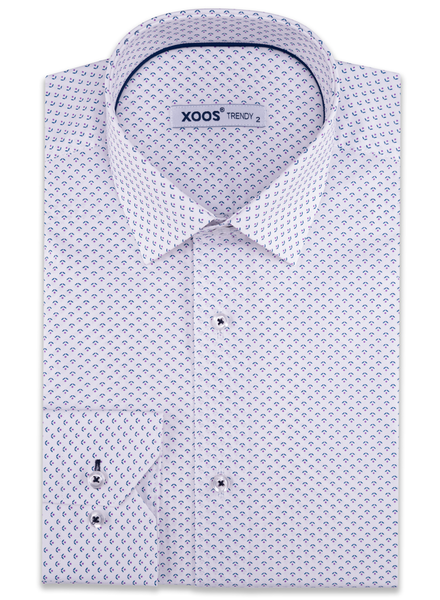 XOOS Men's white dress shirt purple micro pattern prints