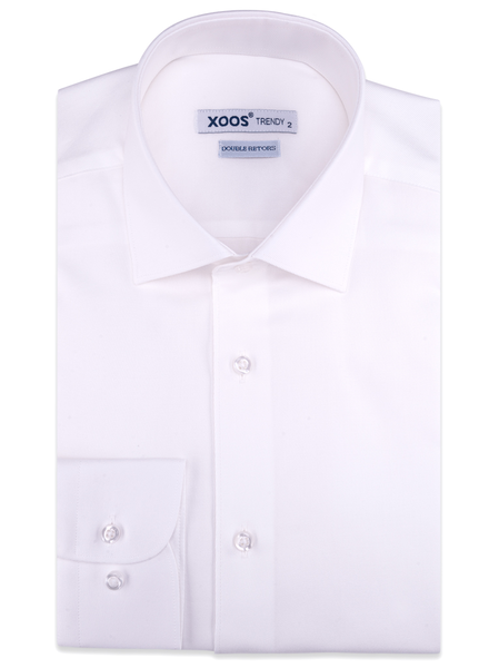 XOOS Chemise homme en twill blanc (Double Retors)
