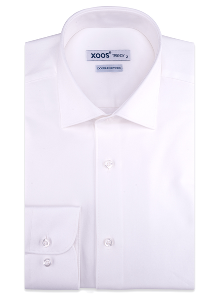 XOOS Men's white gabardeen cotton dress shirt (Double Twisted)