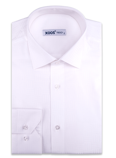 XOOS Men's white geometrical woven patterns cotton dress shirt