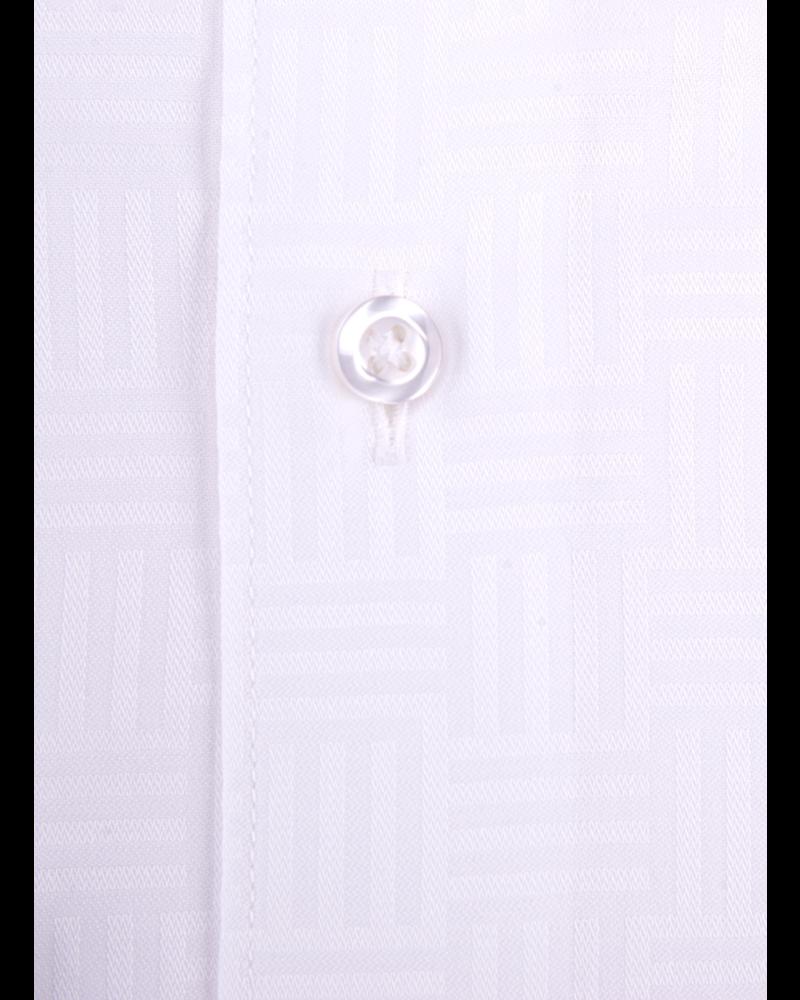 XOOS Chemise homme blanche à motifs géometriques tissés ton sur ton