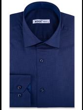 XOOS Men's navy blue geometrical woven patterns cotton dress shirt